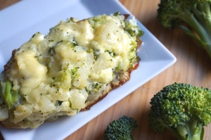 Healthy Broccoli Cheddar Twice Baked Potatoes made with Greek yogurt