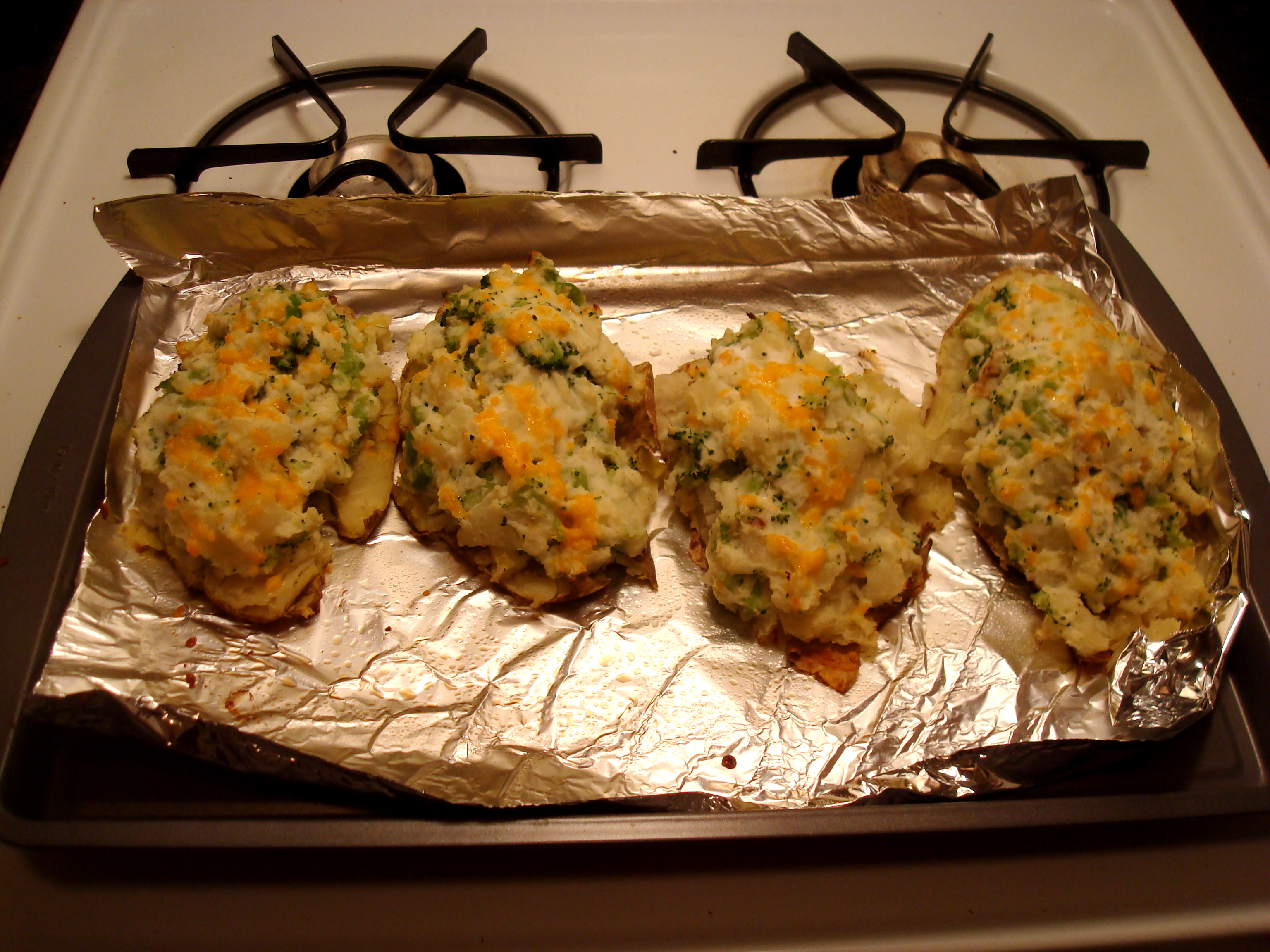 Broccoli Cheddar Twice Baked Potatoes, made with Greek Yogurt