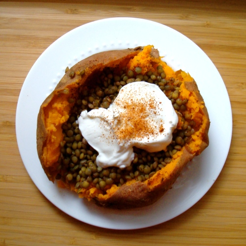 Simple Stuffed Sweet Potato with Lentils