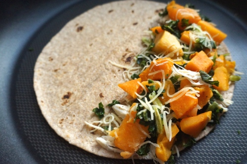 Whole grain quesadilla with chicken, kale, butternut squash, and Monterrey Jack cheese