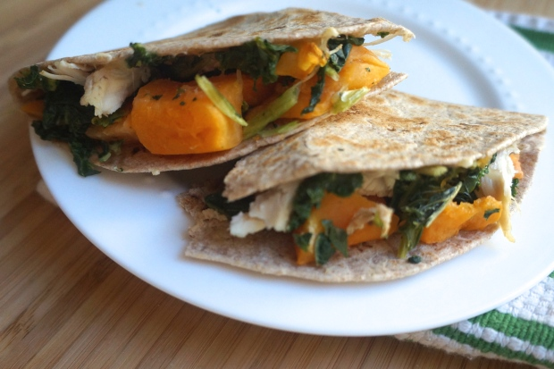 Whole grain quesadilla with butternut squash, kale, chicken, and Monterrey Jack cheese