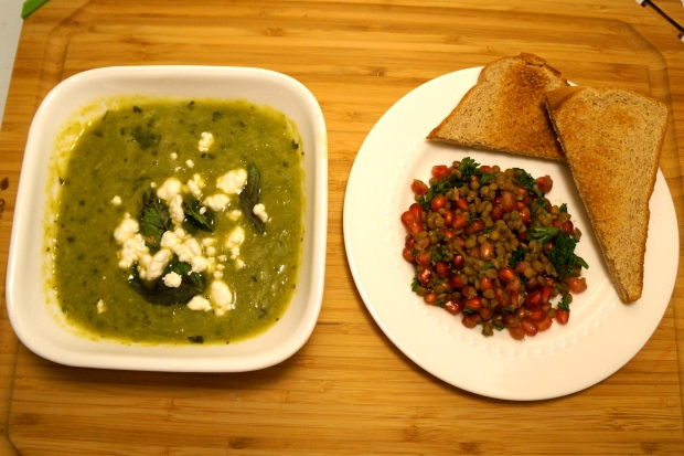Asparagus Soup with Herbed Goat Cheese, Lentil and Pomegranate Salad with Parsley, Cumin, and Coriander, and Multigrain Toast