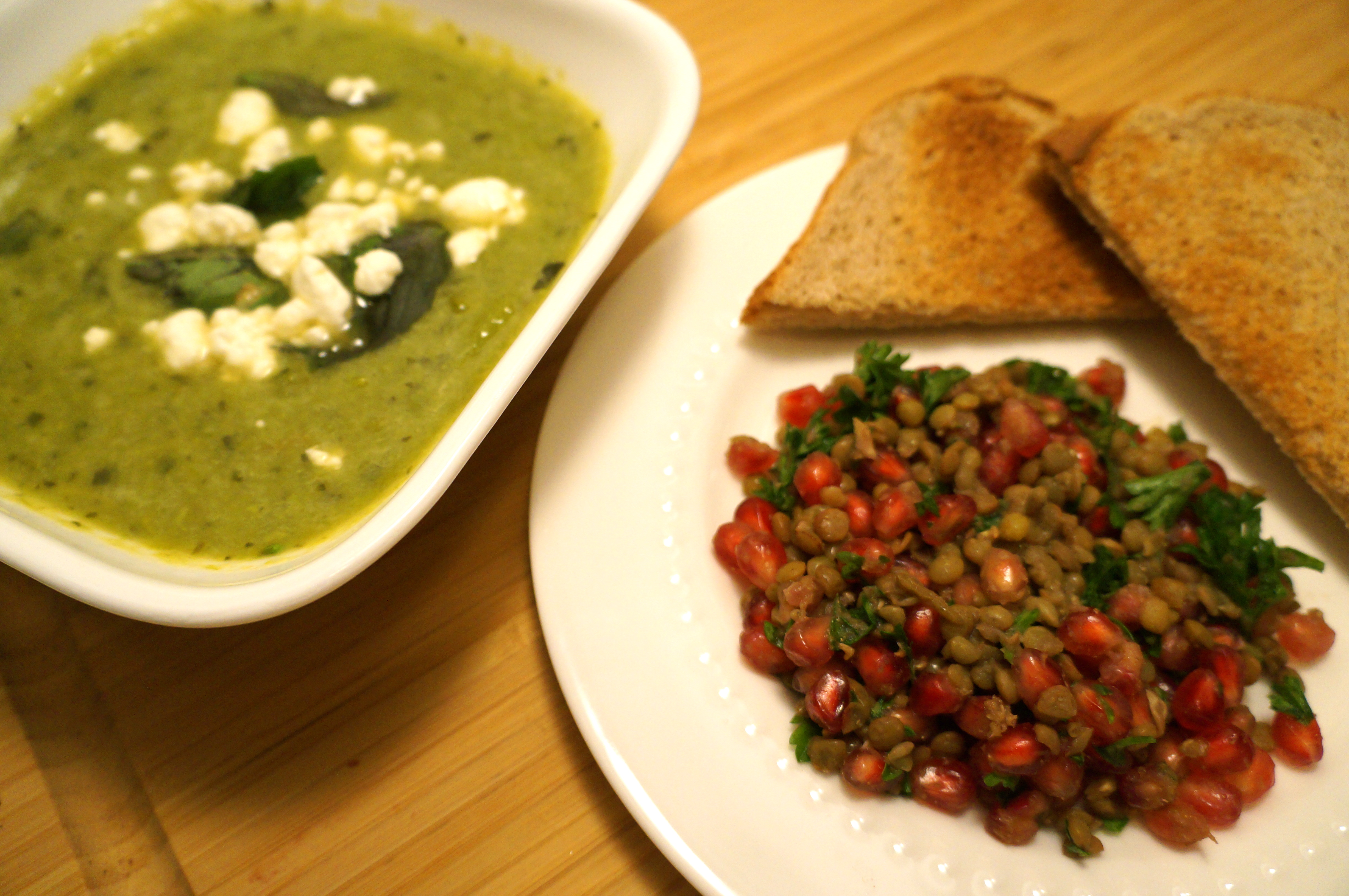 Asparagus Soup with Herbed Goat Cheese, Lentil and Pomegranate Salad ...