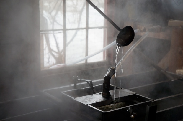 Heating up the maple sap in the sugar shack