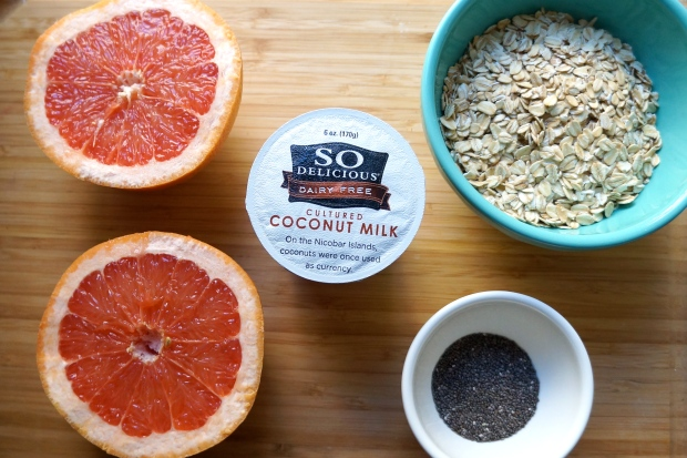 Overnight Grapefruit Coconut Oatmeal for 2