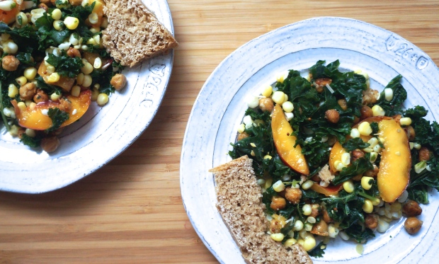 Cheesy Chickpea Kale Salad with Nectarines and Corn