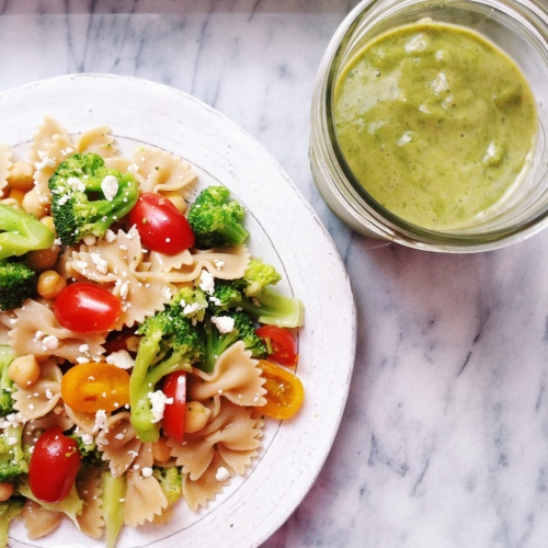 Healthy Whole Grain Pasta Salad with Tomatoes, Broccoli, Chickpeas, Feta, and Olive Oil