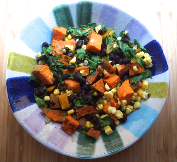Pantry Cleanout: Chili roasted sweet potatoes and onions with corn, black beans, and spinach