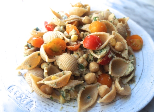 Healthy Whole Grain Pasta Salad with Corn, Tomatoes, Chickpeas, and Artichoke Pesto