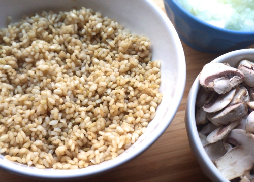 Parboiled brown rice for Brown Rice Pumpkin Risotto with Mushrooms, Zucchini and Spinach