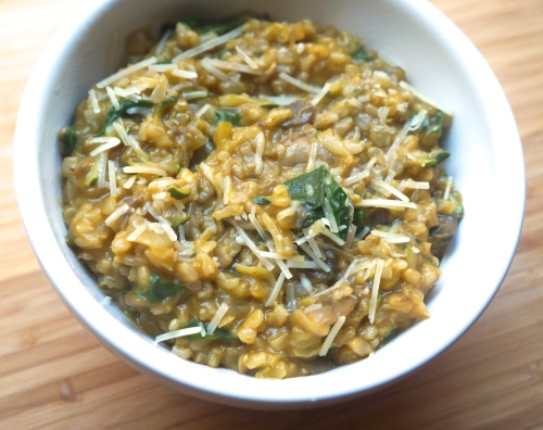 Brown Rice Pumpkin Risotto with Spinach, Mushrooms, and Zucchini