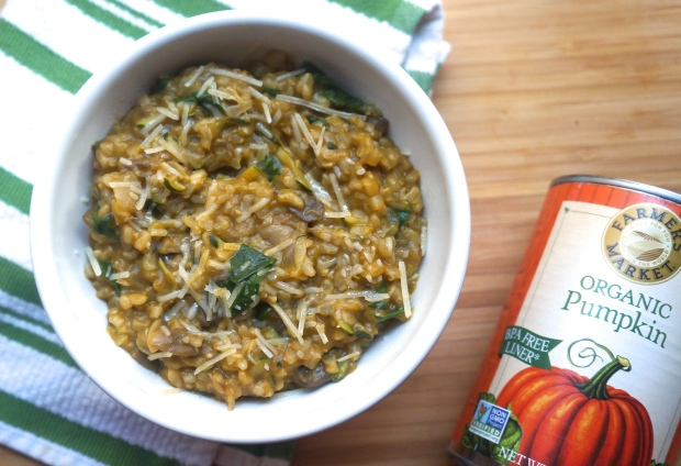 Brown Rice Pumpkin Risotto with Mushrooms, Zucchini and Spinach