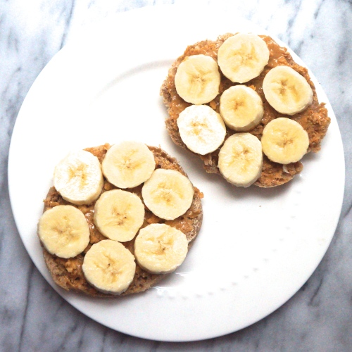 Whole Wheat English Muffin with PB and Bananas