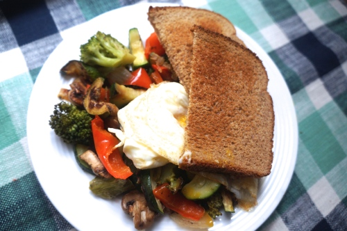 Leftover Veggies + Egg + Toast