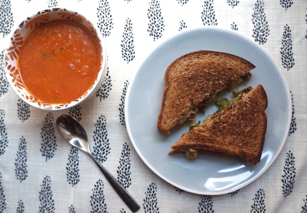 Recipes on my radar: Roasted Tomato Soup + Grilled Cheese with Brussels Sprouts