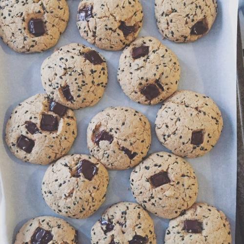 Whole Grain Tahini Chocolate Chunk Cookies