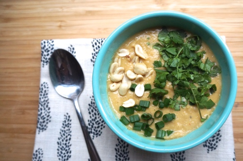 Vegan Butternut Squash and Peanut Soup with Chickpeas