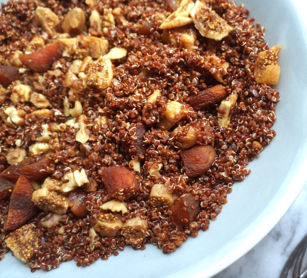 Mediterranean Breakfast Quinoa with Walnuts, Figs and Apricots