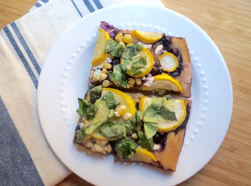 Summer Flatbread Pizza with Blueberries, Corn, Squash, Goat Cheese, and Basil