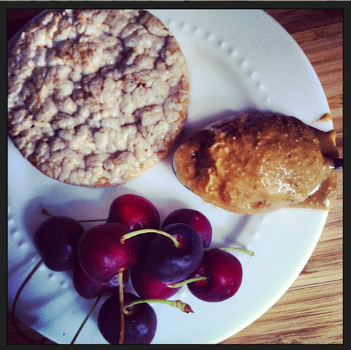 Natural PB, Rice Cake, and Cherries