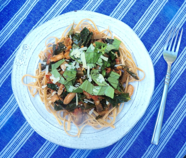 Whole Grain Linguine with Wheat Beans and Summer Vegetables