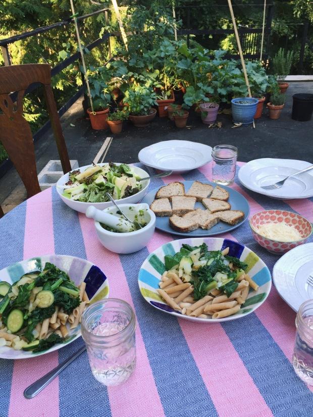 Dinner on a rooftop garden, Brookline, MA